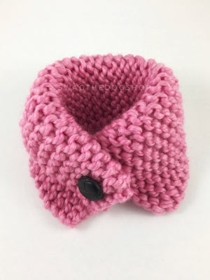 Pink Enough Swagsnood - Product Above View. Pink Color Dog Snood with Accent Button