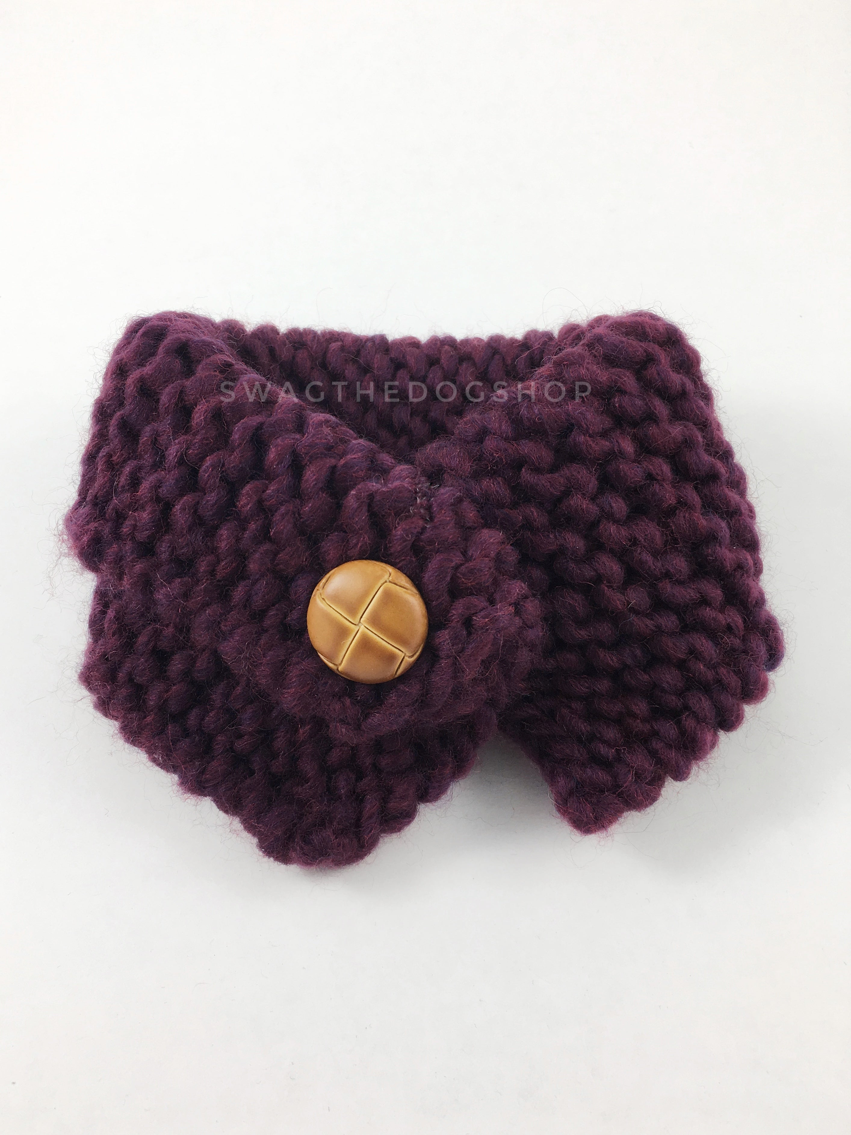 Plum Swagsnood - Product Front View. Plum Color Dog Snood with Accent Button