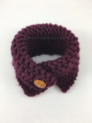 Plum Swagsnood - Product Above View. Plum Color Dog Snood with Accent Button