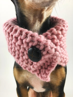 Rosewater Swagsnood -  Close Up Neck View of Cute Chihuahua Dog Wearing Dusty Rose Pink Color Dog Snood with Accent Button