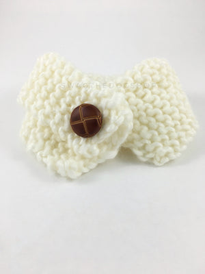 Winter Cream Swagsnood - Product Front View. Winter Cream Color Dog Snood with Accent Button