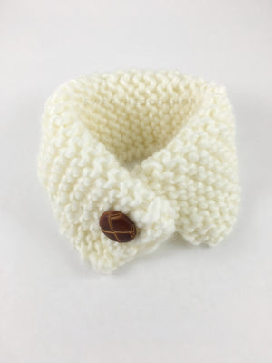 Winter Cream Swagsnood - Product Above View. Winter Cream Color Dog Snood with Accent Button