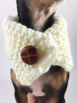 Winter Cream Swagsnood - Close Up Neck View of Cute Chihuahua Dog Wearing Winter Cream Color Dog Snood with Accent Button