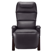 Load image into Gallery viewer, SVAGO Lite Best Zero Gravity Recliner Upright Front View in Brown with Dark Wood Base