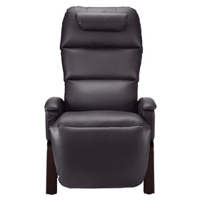 SVAGO Lite Best Zero Gravity Recliner Upright Front View in Brown with Dark Wood Base