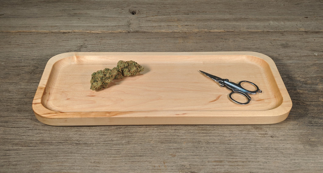 Hard Maple Cannabis Rolling Tray (Long) - 3/4
