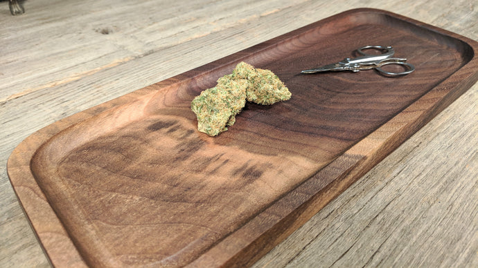 Walnut Cannabis Rolling Tray (Long) - 3/4