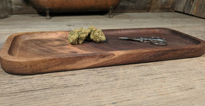 "Walnut Cannabis Rolling Tray (Long) - 3/4"" x 5"" x 12 1/2"""