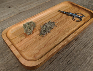 "Cherry Cannabis Rolling Tray- 3/4"" x 5"" x 10 1/2"""