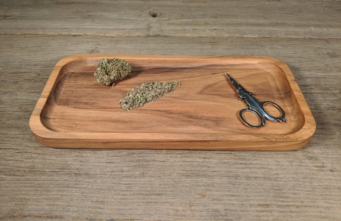 Walnut Cannabis Rolling Tray - 3/4