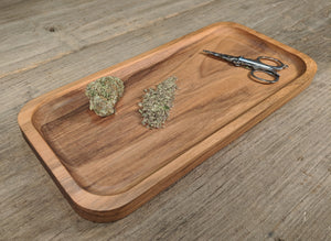 "Walnut Cannabis Rolling Tray - 3/4"" x 5"" x 10 1/2"""