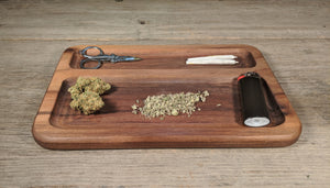 "Walnut Cannabis Double Chamber Rolling Tray - 3/4"" x 7"" x 10 1/2"""