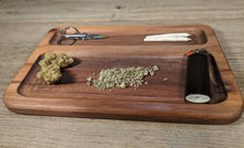 "Load image into Gallery viewer, Walnut Cannabis Double Chamber Rolling Tray - 3/4"" x 7"" x 10 1/2"""