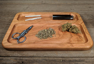 "Cherry Cannabis Double Chamber Rolling Tray - 3/4"" x 7"" x 10 1/2"""