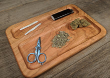 "Load image into Gallery viewer, Cherry Cannabis Double Chamber Rolling Tray - 3/4"" x 7"" x 10 1/2"""