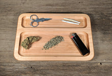 "Load image into Gallery viewer, Hard Maple Cannabis Double Chamber Rolling Tray - 3/4"" x 7"" x 10 1/2"""
