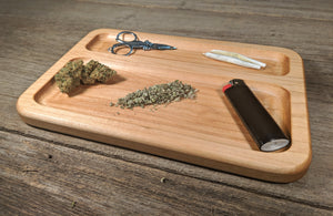 "Hard Maple Cannabis Double Chamber Rolling Tray - 3/4"" x 7"" x 10 1/2"""