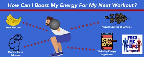 Infographic showing how to boost energy before your workout.