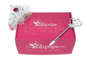 Happy Birthday box for little girl age three years olds to nine years old. Features a Lollipopa sequin purse for her birthday. Includes an activity book for her birthday. Moms can sayy happy birthday to their little girl with this Lollipopa birthday box. It features a birthday tiara and a birthday scepter pen.