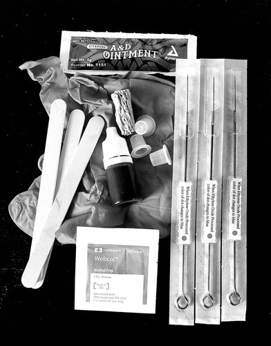 Home Tattoo Kit, DIY Stick too Poke Tattoo, complete tattoo kit.  free instructions, Made in USA