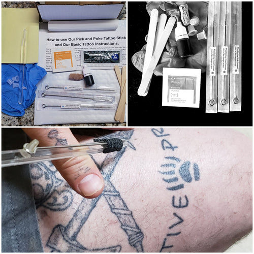 Stick too Poke Tattoo . Reusable Tattoo Stick, 5 needles and stencil sheet, Free Instructional Guide, Home Made Tattoos, DIY Tattoo Kit