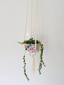 miss vintage macrame teacup planter
