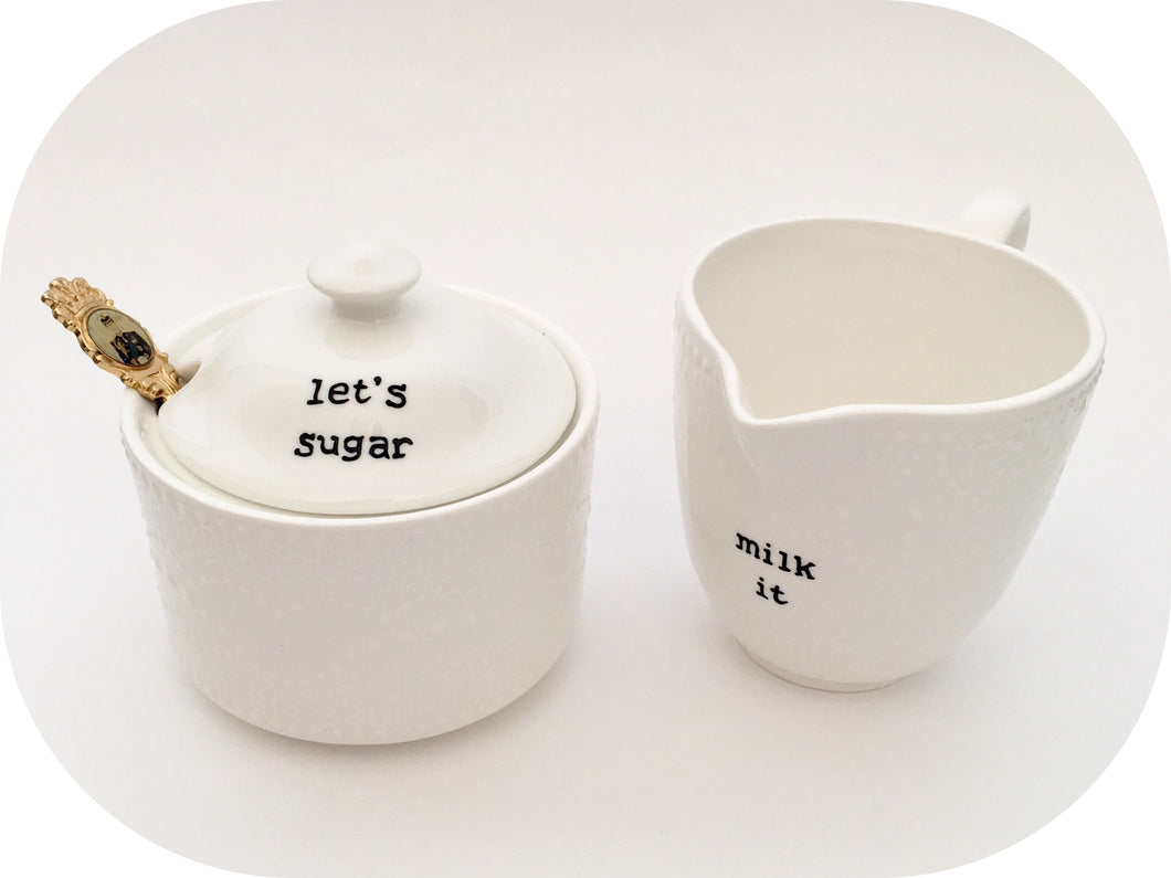 White Lace Milk and Sugar Set