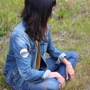 BC Parks Foundation canoeing patch on denim jacket