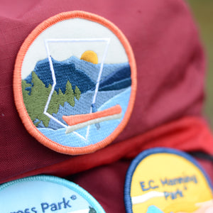 BC Parks Foundation canoeing patch on backpack