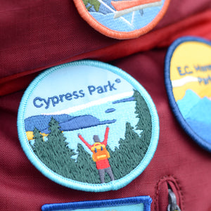 BC Parks Foundation Cypress Park patch on a backpack