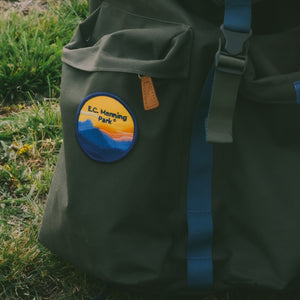 BC Parks Foundation E.C. Manning Park patch on a backpack