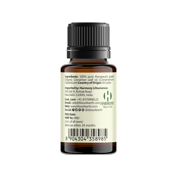 Organic Sri Lankan Cinnamon Leaf Essential Oil 10ML
