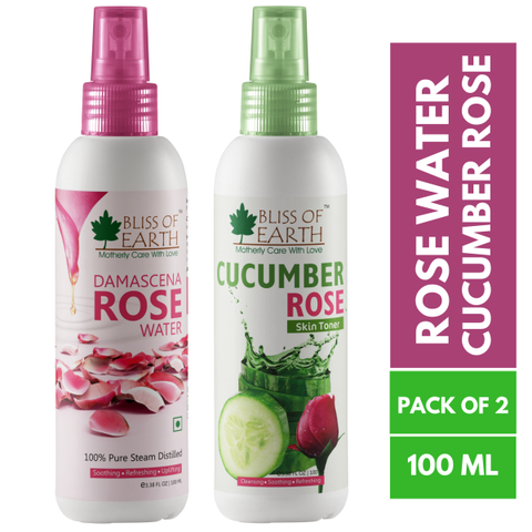 Damascena Rose Water + Cucumber Rose Toner Combo (100ML Each)