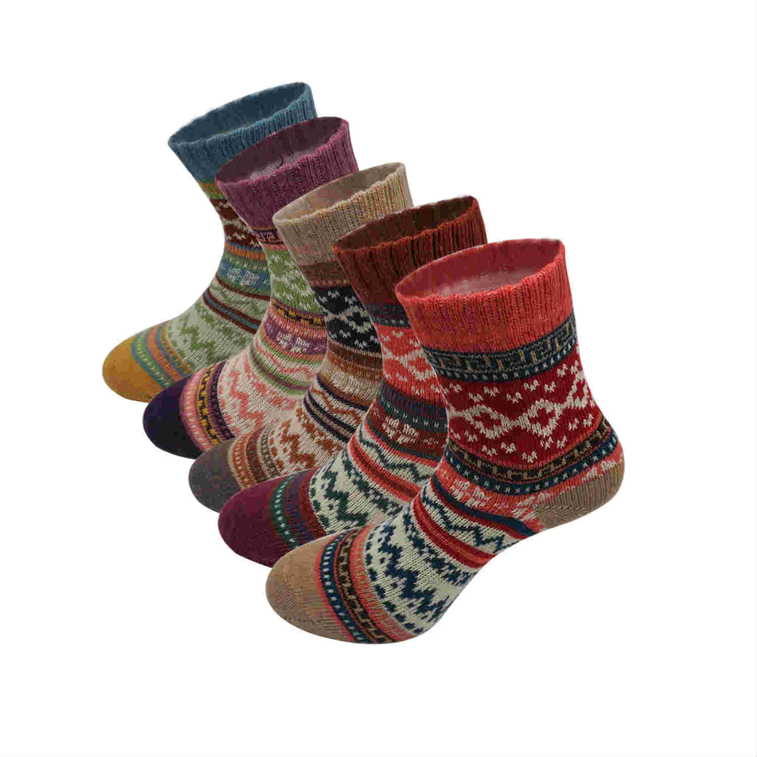 Women's 5 Pairs Funny Pattern Crew Socks - Merrylife