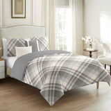 Tartan White Plaid 5 pcs Duvet Cover Set