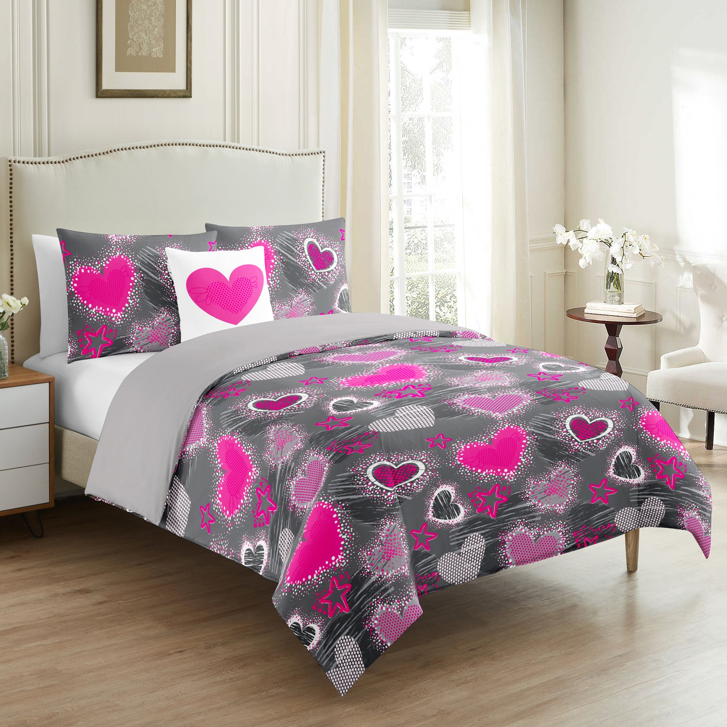 Pink Love Beats Kids Duvet Cover Set 4 Pieces - Merrylife