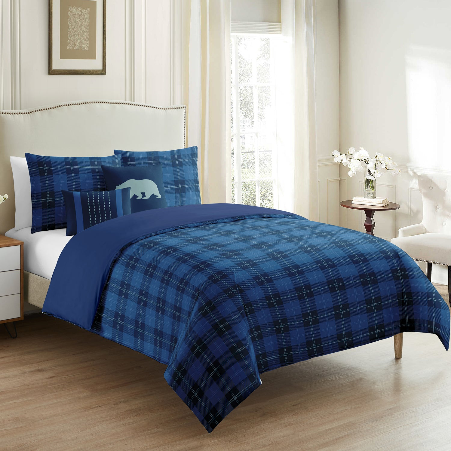 Scottish Blue Plaid 5 Pieces Duvet Cover Set - Merrylife