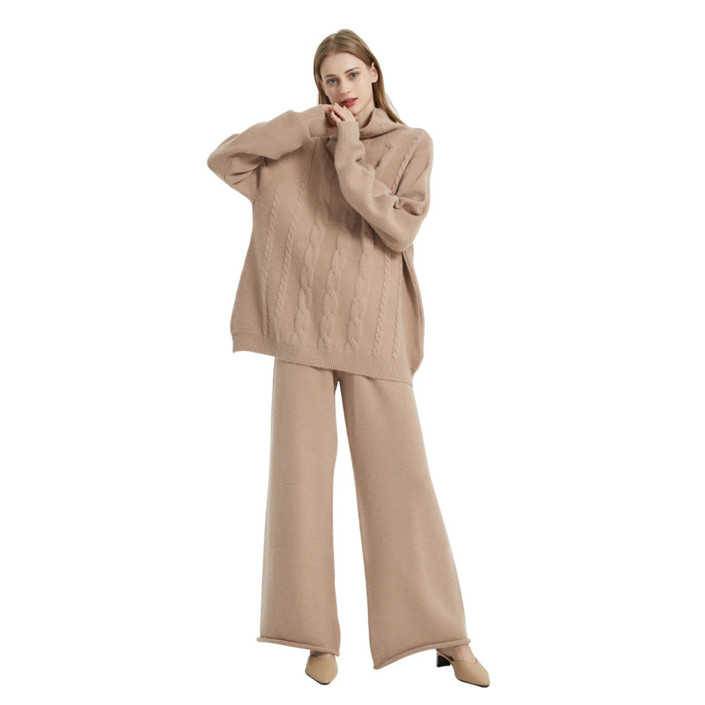 Women Knit High Collar Pullover And Sweater Pants Sets - Merrylife