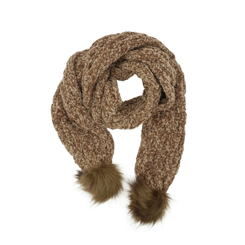 Chenille Caramel Long Scarf