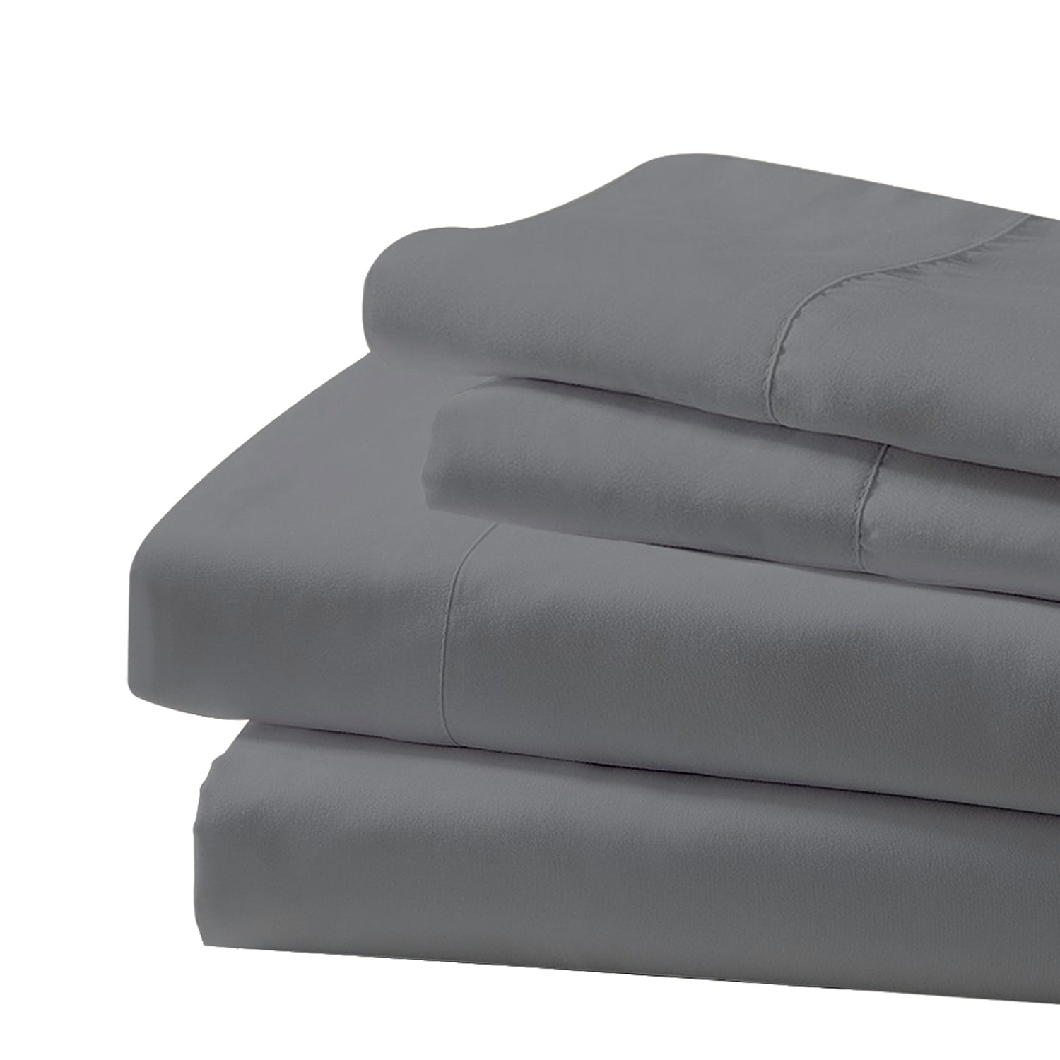Galaxy Gray LUXURY Bed Sheet Set 3/4Pcs Soft Microfiber Fitted, Flat Sheet & Pillowcase Fits Mattress Up to 14'' Deep Pocket - Merrylife