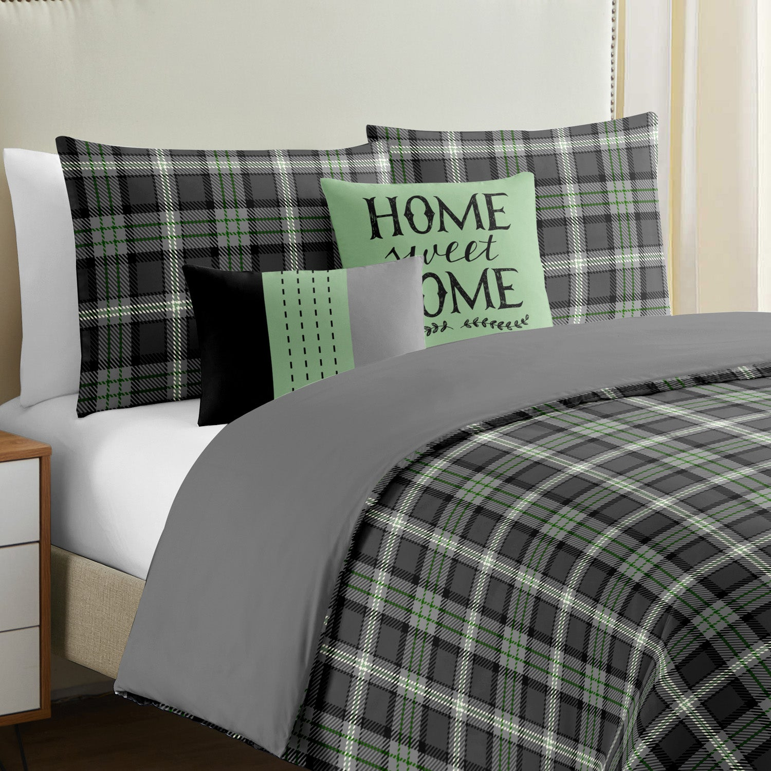 Prince of Wales Check 5 pcs Duvet Cover Set - Merrylife