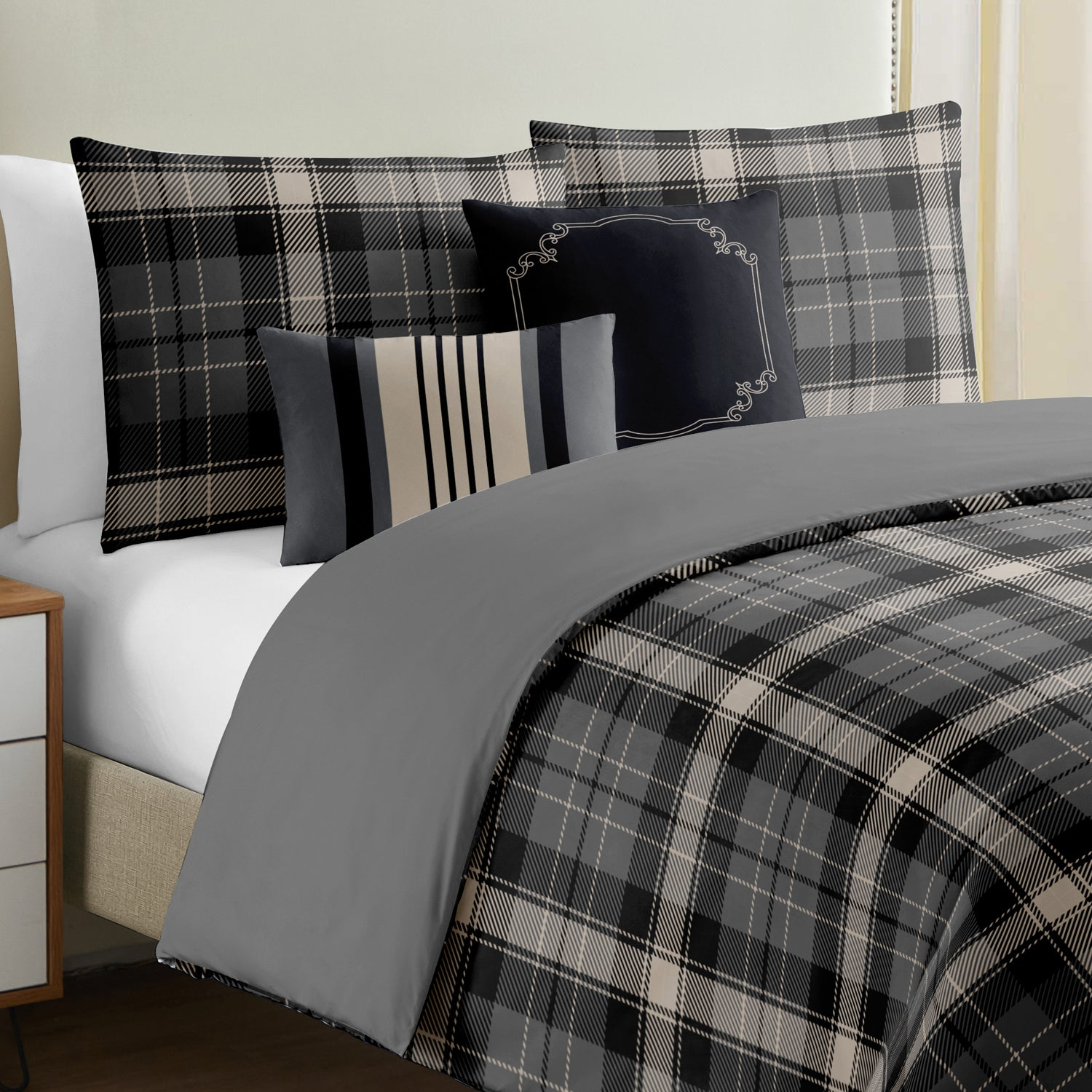 Shepherd Check 5 Pcs Duvet Cover Set - Merrylife