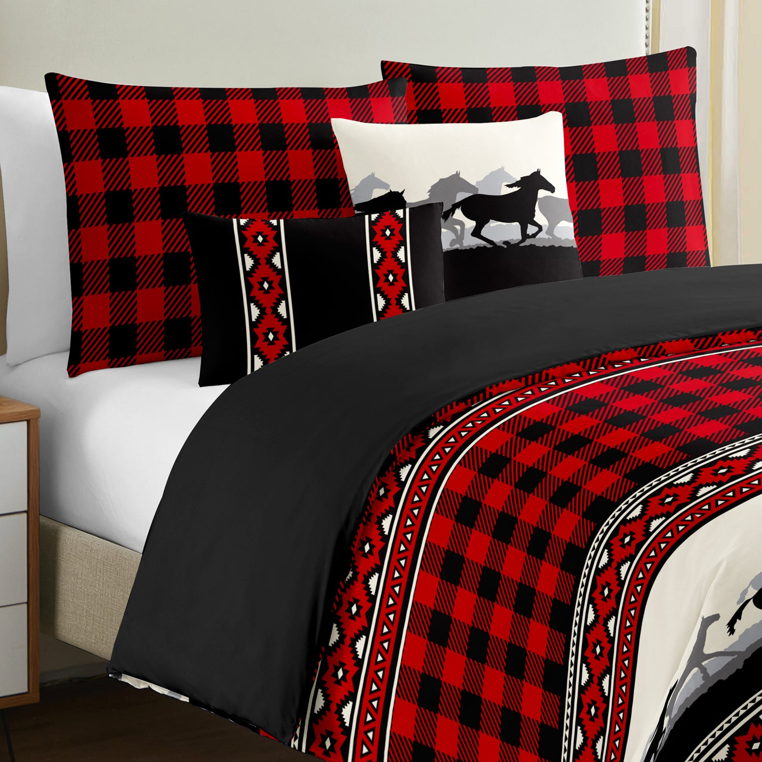 Gingham Check Duvet Cover Set 5 pieces - Merrylife