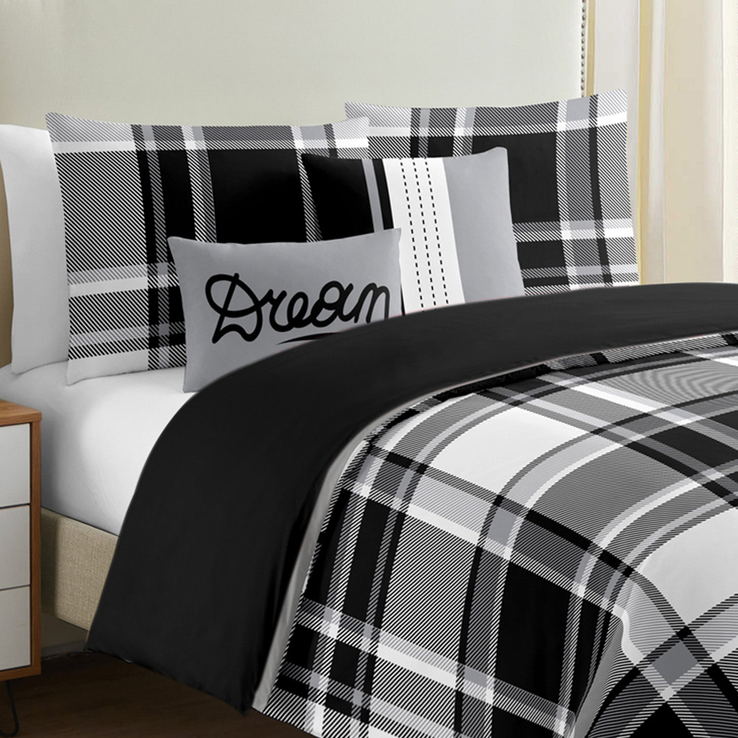 Windowpane Black&White Plaid 5 Pcs Duvet Cover Set - Merrylife