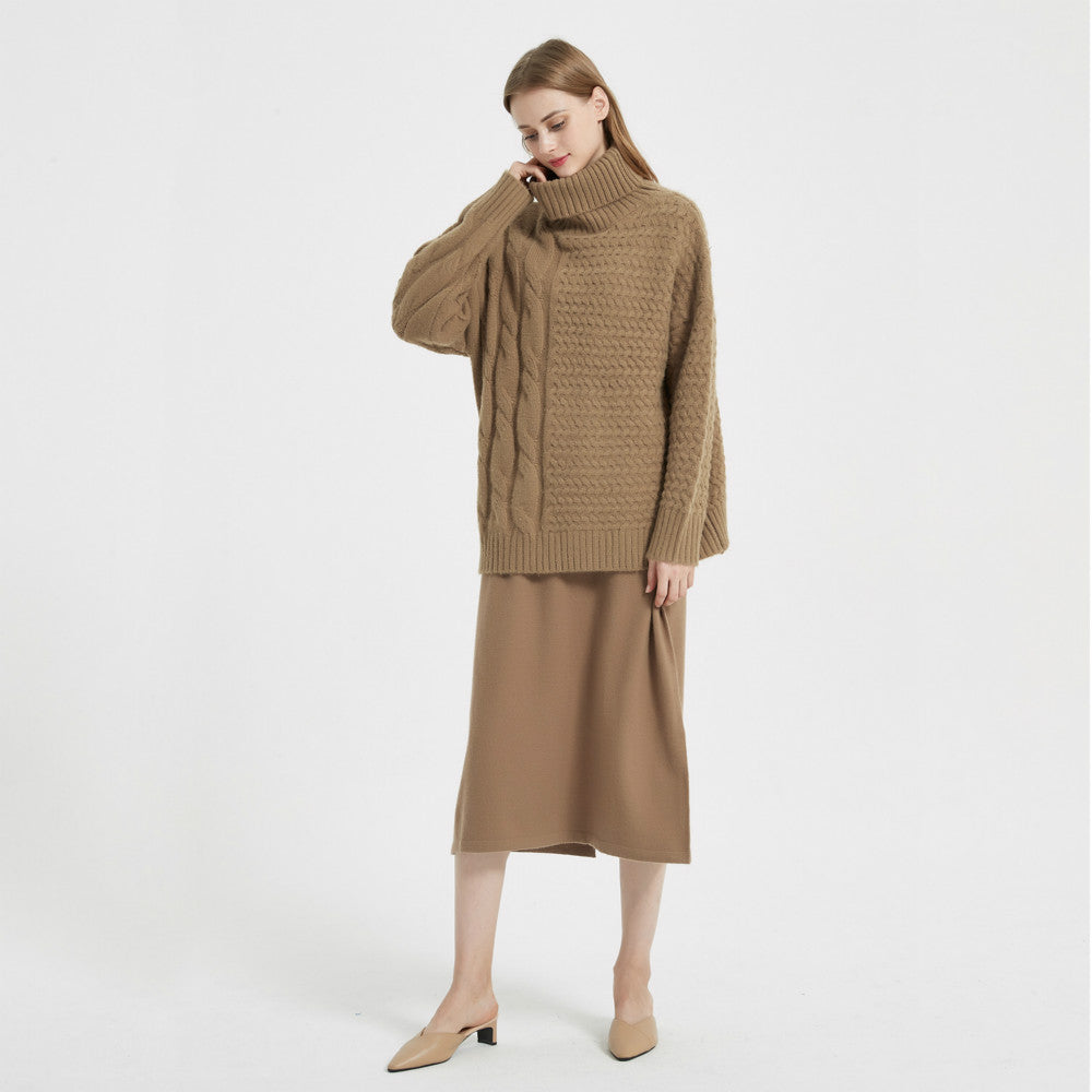 Women Knit High Collar Pullover And Sleeveless Sweater Dress Sets - Merrylife