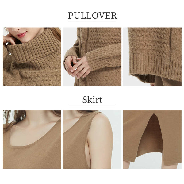 Women Knit High Collar Pullover And Sleeveless Sweater Dress Sets
