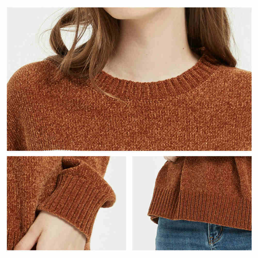 Women's Chenille Crew Neck Sweater - Merrylife