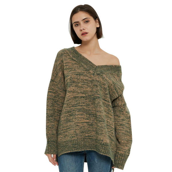 Women's Long Sleeve V Neck Sweater