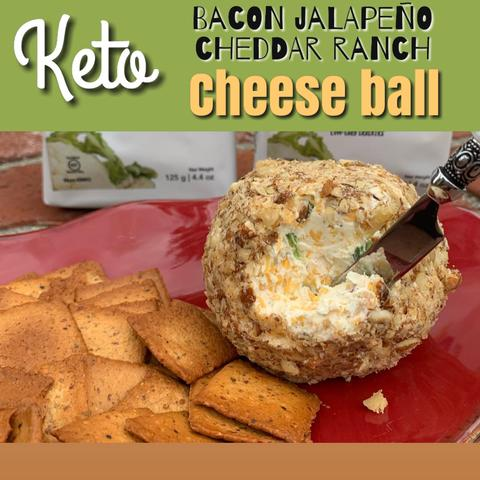 Keto Bacon Jalepeno Cheddar ranch Cheese ball
