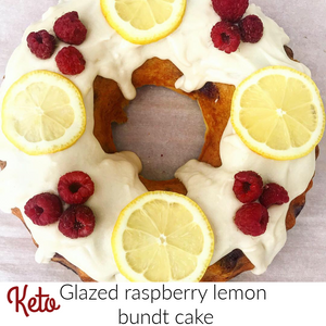 Keto Glazed Raspberry Lemon Bundt Cake